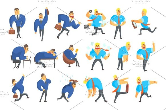 Businessman In A Suit Different Work Activities Set Of Drawings