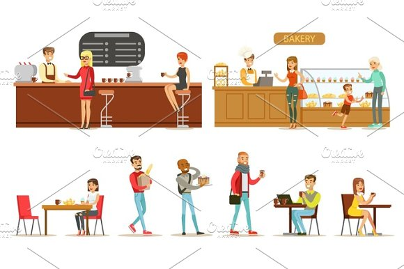 Interior Design And Happy Clients Of A Coffee Shop Set Illustrations