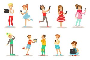Children And Gadgets Set Of Illustrations With Kids Watching, Listening And Playing Using Electronic Devices