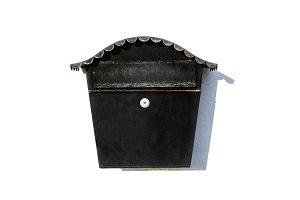 Black post letter mailbox