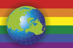 North Pole map over a gay flag