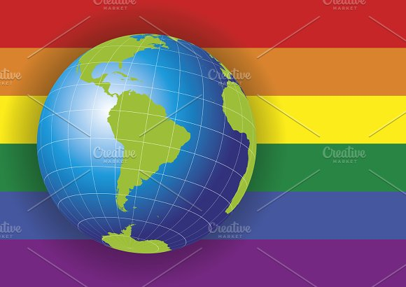 South America Map Over A Gay Flag