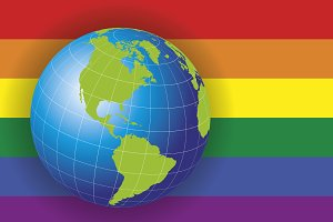 North America map over a gay flag