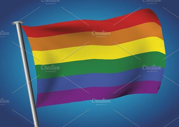 Gay Flag Waving On The Sky Lgtb