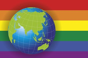 Asia map over a gay flag