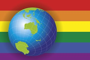Australia map over a gay flag