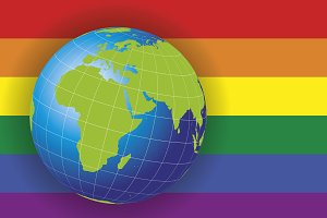 Europe and Africa map over gay flag