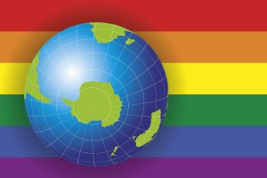 Antarctica & South pole map gay flag