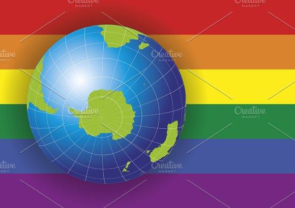 Antarctica South Pole Map Gay Flag