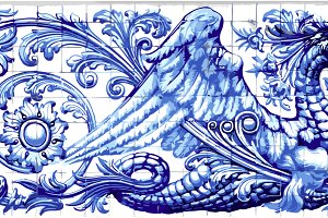 Blue Dragon Azulejo Ceramic Tile
