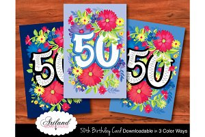 50th Birthday Card Colorful Flowers
