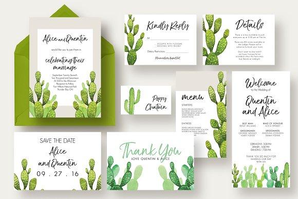 cactus wedding suite invitation templates creative market
