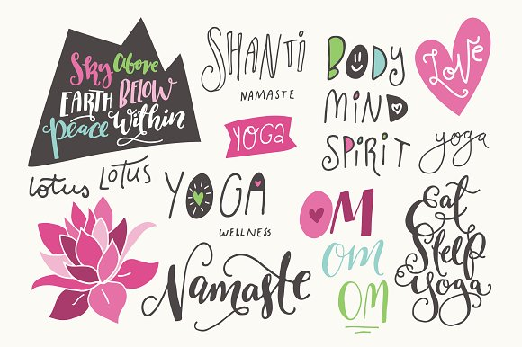 Yoga Phrases Lotus Flowers