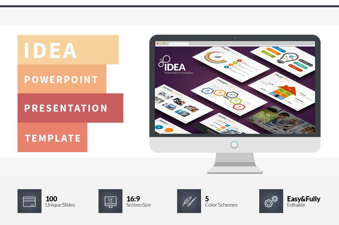 Idea Flat PowerPoint Template Presentation Templates Creative Market - Unique wedding powerpoint ideas scheme