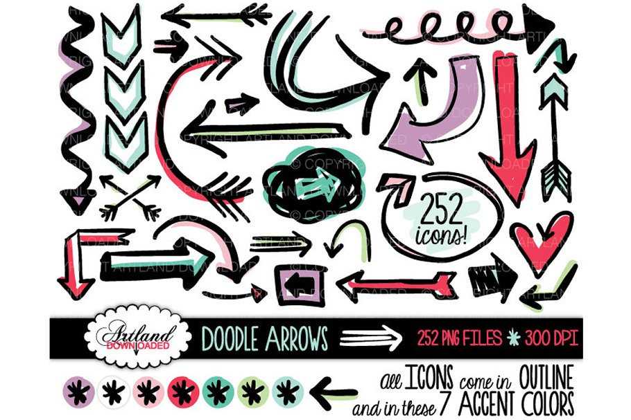 Arrow doodle. Arrows clipart value pack