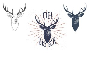 Hand drawn deer label