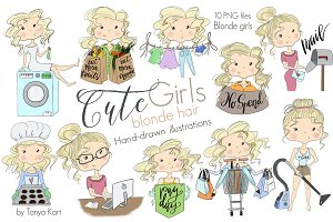 Blonde Hair Clipart of cute girls
