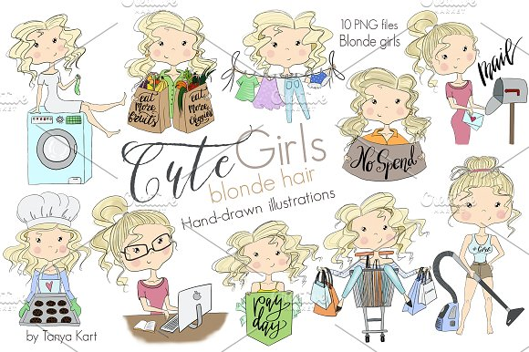 Cute Girls Blonde Hair Clipart