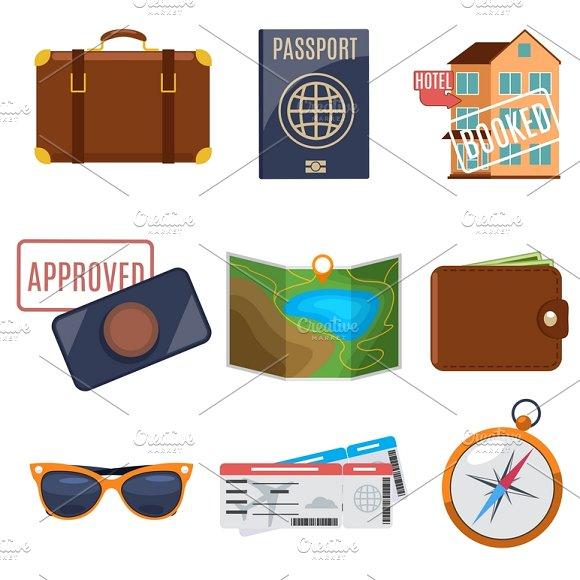 Visa Application And Vacation Icons