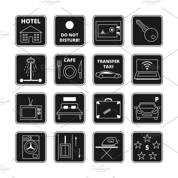 Hotel Vector Black Icons