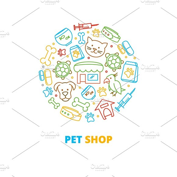 Pet Shops Icons In Circle Design