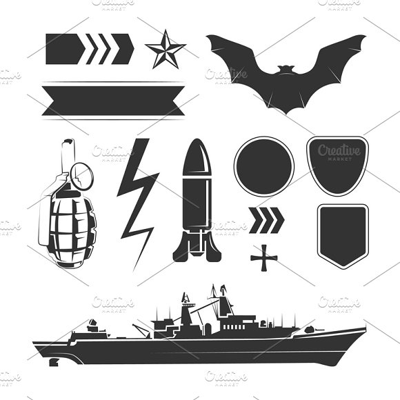 Vector Elements For Army Labels
