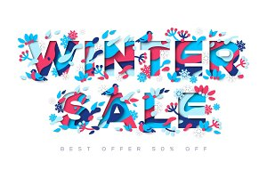 Winter Sale typography design