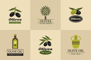 Olive vector labels and emblems