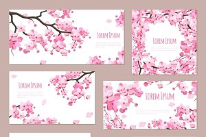 Greeting cards with sakura