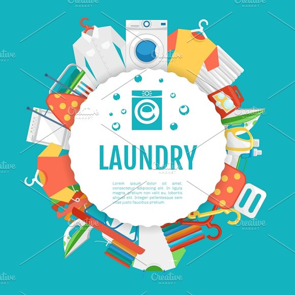 Laundry service poster design illustrations creative market laundry service poster design illustrations pronofoot35fo Image collections