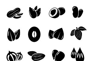 Nut and seed black vector icon