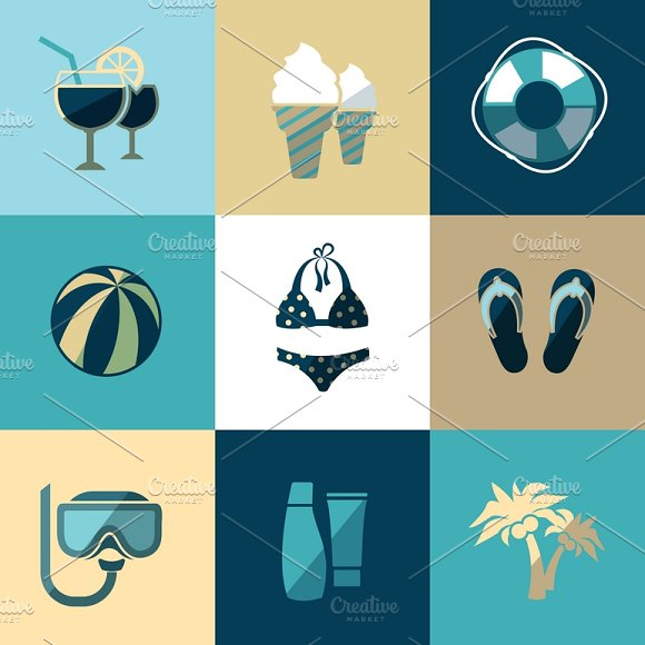 Summer Vacation And Beach Icons