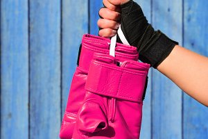 Leather pink gloves