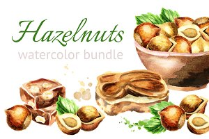 Hazelnuts.Watercolor bundle