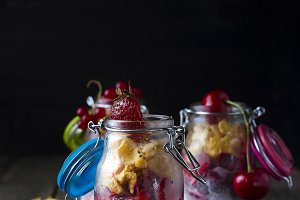 Breakfast in a glass jar