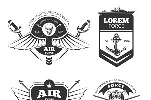 Military vector labels set