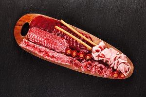 big wooden appetizer platter