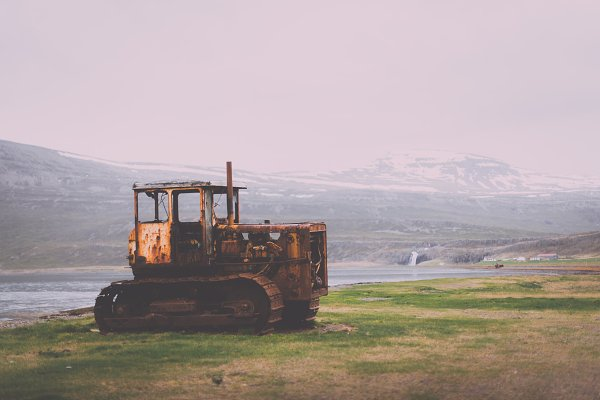 Technology Stock Photos: PhotoMarket - Rusted Bulldozer in the Nature