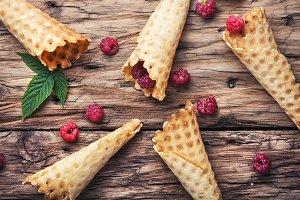 Empty waffle cone