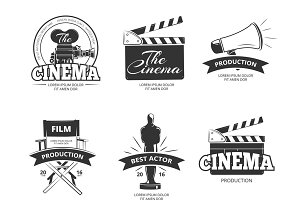 Cinema vector vintage labels set