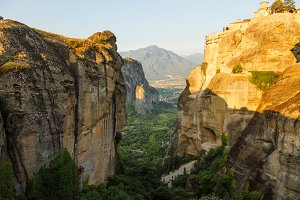 landscape of meteora in the morning with monastery on top of the mountain, Greece