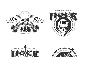 Rock music vintage logos set