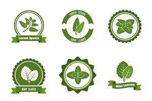 Mint leaves vector logos set
