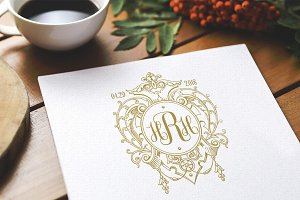 Royal Heart Crest Wedding Monogram