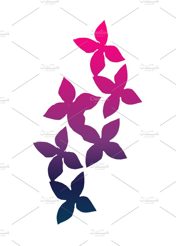 Colored Silhouette Flowers Background