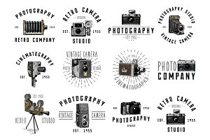 photo logo emblem or label, video, film, movie camera from first till now vintage, engraved hand drawn in sketch or wood cut style, old looking retro lens, isolated vector realistic illustration.