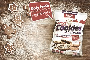 Cookie packaging design template