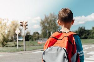 Schoolboy waiting at zebra crossing