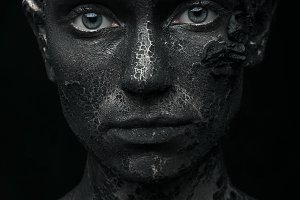 Woman in the clay body art