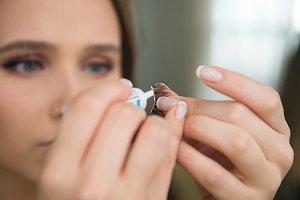 cosmetic glue on fake eyelashes